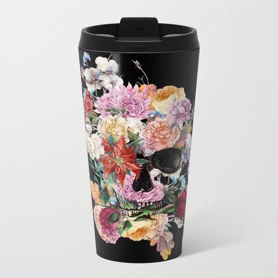 Skull and Flowers Metal Travel Mug