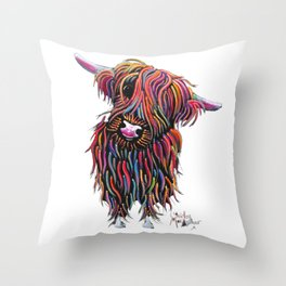 Scottish Highland Cow ' BoLLY ' by Shirley MacArthur Throw Pillow