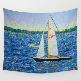 Boats on Boston Harbor Wall Tapestry