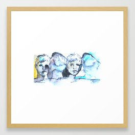 Faces in Blue Framed Art Print