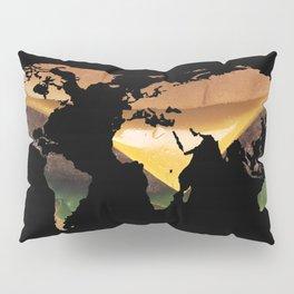 World Map Silhouette - Cheeseburger Pillow Sham