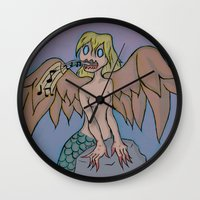 siren Wall Clocks featuring Siren by Art Guy Charlie
