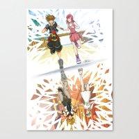 kingdom hearts Canvas Prints featuring One Sky - Kingdom Hearts by Tegan Nat