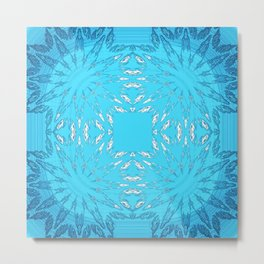 Turquoise Blue Color Burst Floral Metal Print