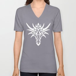 White Dragon Tribal Unisex V-Neck