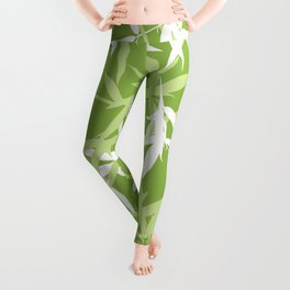 Green Bamboo Leaves Unique Pattern Leggings