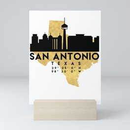 SAN ANTONIO TEXAS SILHOUETTE SKYLINE MAP ART Mini Art Print