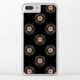Beige Cross Flower Pattern Clear iPhone Case