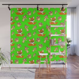 Cute happy red foxes, fallen leaves and wild mushrooms seamless green pattern. Fall season. Hello No Wall Mural