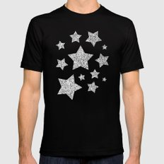 Beautiful Silver glitter sparkles Mens Fitted Tee MEDIUM Black