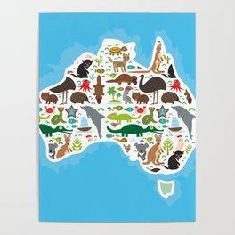 map of Australia. Echidna Platypus ostrich Emu Tasmanian devil Cockatoo parrot Wombat snake turtle Poster