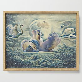 Four Swans Moon Rise Serving Tray