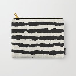 Tribal Stripes Black on Cream Carry-All Pouch