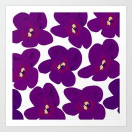 Purple Retro Flowers #decor #society6 #buyart Art Print