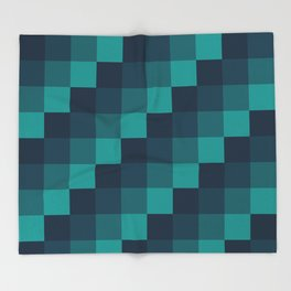 Ocean Waves - Pixel patten in dark blue Throw Blanket