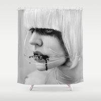 the wire Shower Curtains featuring wire. by Miklos