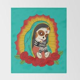 Virgin de Guadalupe Sugar Skull Throw Blanket