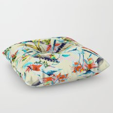 Birds and flowers I Floor Pillow