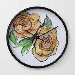 Pretty Peach Roses Wall Clock
