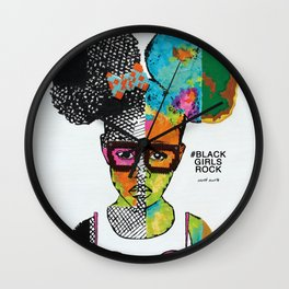 Girl with Afro Puffs Wall Clock