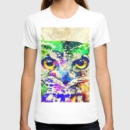 Owl Watercolor Grunge T-shirt