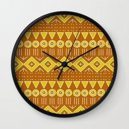 Mudcloth Style 2 in Burnt Orange and Yellow Wall Clock