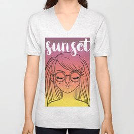 Sunset Girl Unisex V-Neck