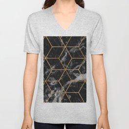 Golden deco black marble geo Unisex V-Neck