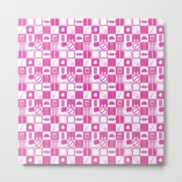 Contraception Pattern (Pink) Metal Print