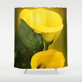 Calla Lily Bright Yellow Lives Bokeh Shower Curtain