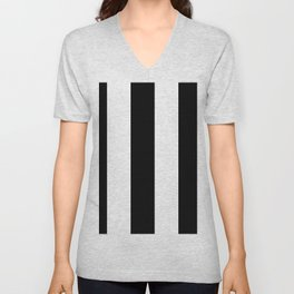 5th Avenue Stripe No. 2 in Black and White Onyx Unisex V-Neck
