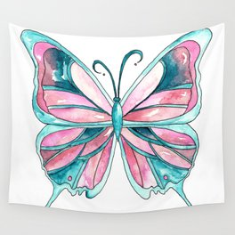 Pink and Blue Watercolor Butterfly Wall Tapestry