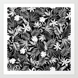 Tropical Floral - Monochrome Art Print