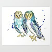 Blue Owls Art Print