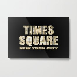 Times Square New York City (golden glow on black) Metal Print