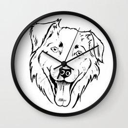 Portrait of a cheerful shaggy dog Wall Clock