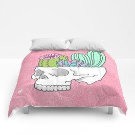 Succulent cactus garden flower pastel skull Comforters