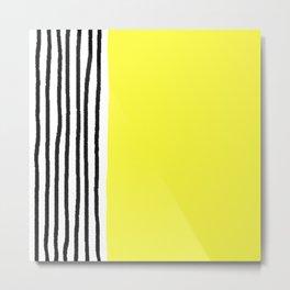 Stripes & Rays Of Sunshine Yellow Metal Print