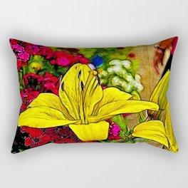 Fractal Yellow Lily Rectangular Pillow