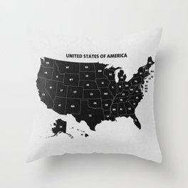 Black & White U.S.A. Map Throw Pillow