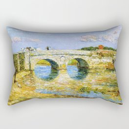 Classical Masterpiece 'Bridge Over the Stour'' by Frederick Childe Hassam Rectangular Pillow