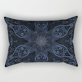 Blue Ornate Pattern with 3D effect Rectangular Pillow