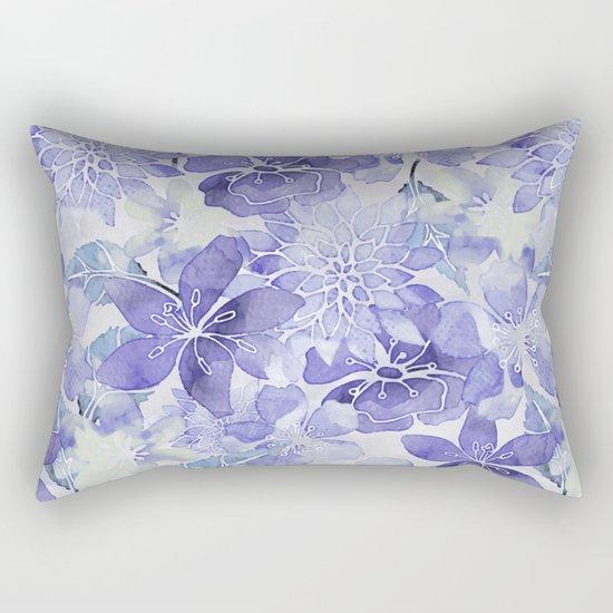 Purple Flower watercolor allover pattern Rectangular Pillow
