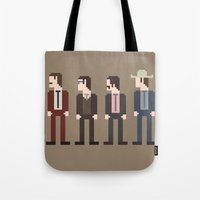 anchorman Tote Bags featuring Anchorman 8-Bit by Eight Bit Design