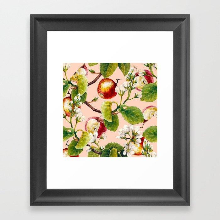 White apple blossoms and apples Gerahmter Kunstdruck