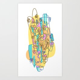 Abstract Faces JL8-20 (Filled) Art Print
