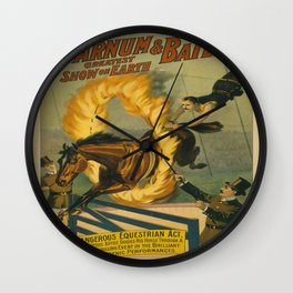 Vintage poster - Circus Horse Jumping Through Fire Wall Clock