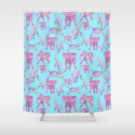Pink and Lavender Elephants Shower Curtain