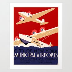 City of New York Airports Travel Art Print