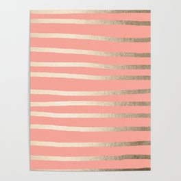 Simply Drawn Stripes in White Gold Sands and Salmon Pink Poster